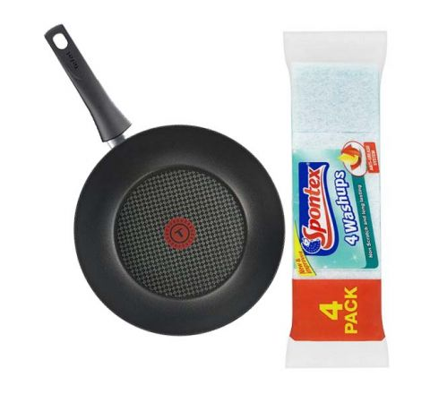 Tefal Chef Delight Wok 28cm With 4 Pack Spontex Washups