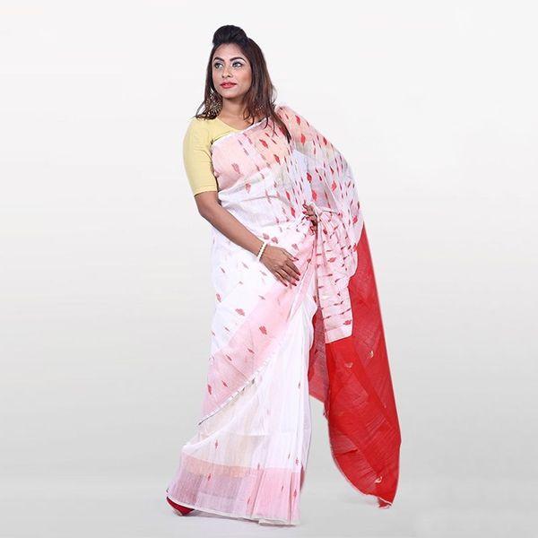 6af2f69e8fb491 Half Silk & Cotton Jamdani Saree White & Red 1021