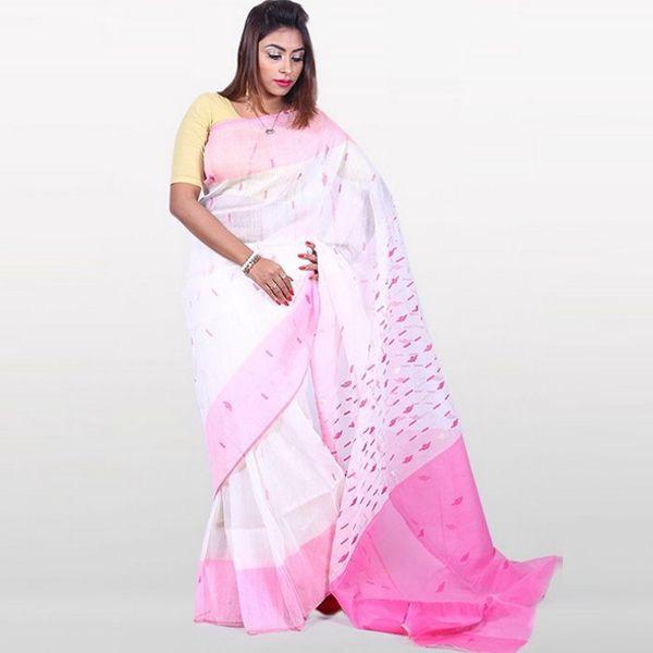 7a45612a9aa Half Silk   Cotton Jamdani Saree White   Pink 1042