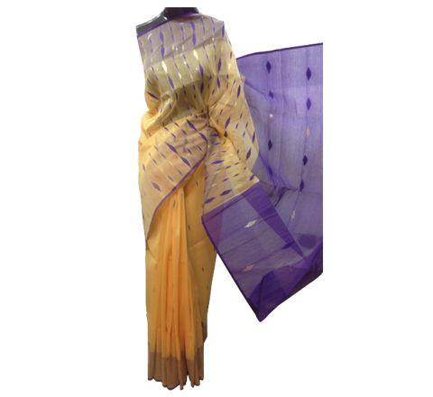 Half Silk & Cotton Jamdani Saree Yellow 1002