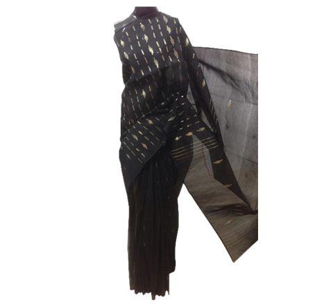 Half Silk & Cotton Jamdani Saree Black 1014