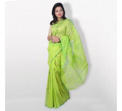 Half Silk & Cotton Jamdani Saree Lime Green 1017