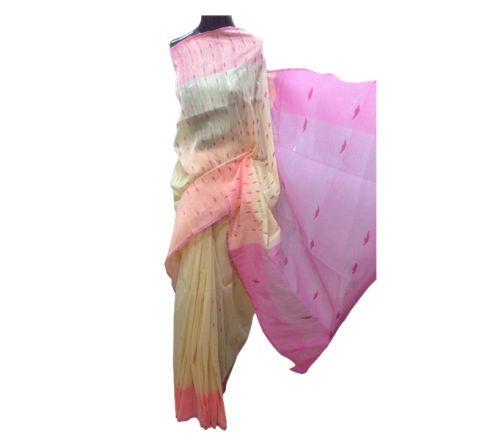 Half Silk & Cotton Jamdani Saree Cream & Pink 1018