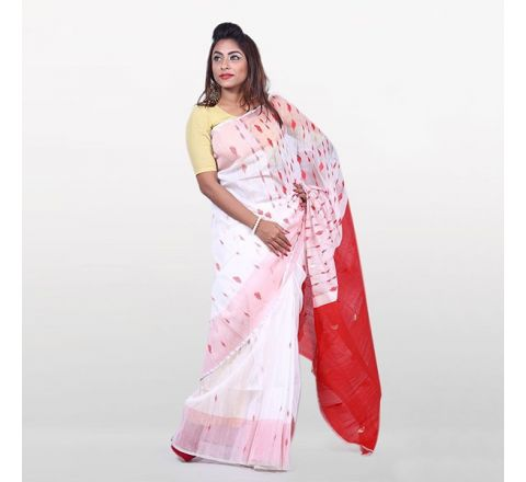 Half Silk & Cotton Jamdani Saree White & Red 1021