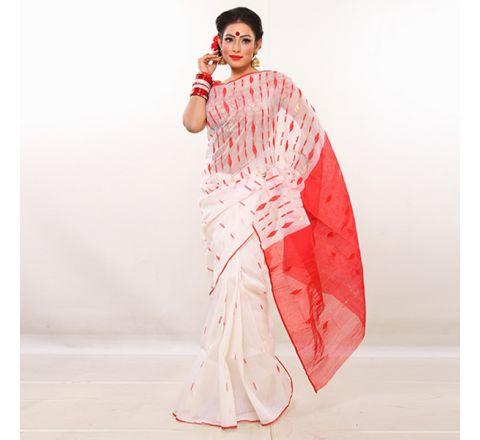 Half Silk & Cotton Jamdani Saree White & Red 1022