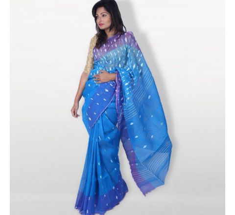 Half Silk & Cotton Jamdani Saree Blue 1034
