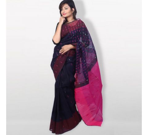 Half Silk & Cotton Jamdani Saree Navy Blue & Pink 1035