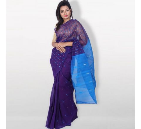 Half Silk & Cotton Jamdani Saree Purple & Blue 1037