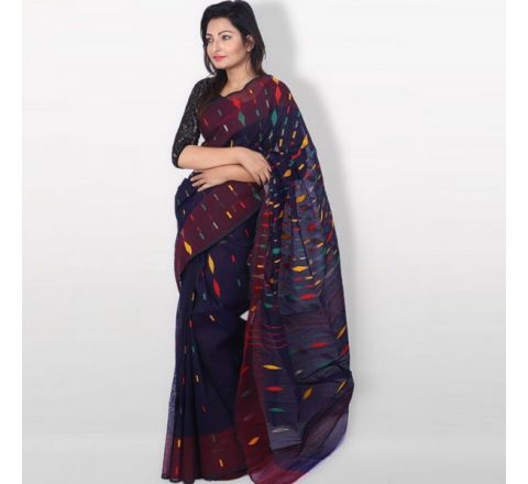 Half Silk & Cotton Jamdani Saree Navy Blue 1038