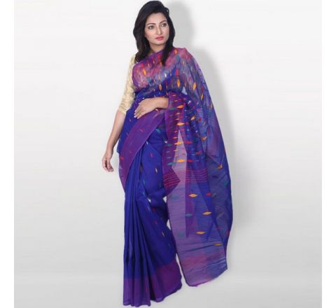Half Silk & Cotton Jamdani Saree Royal Blue 1039