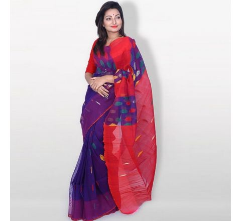 Half Silk & Cotton Jamdani Saree Purple & Red 1040