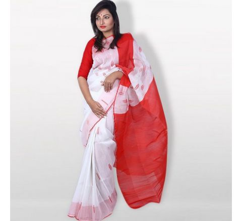 Half Silk & Cotton Jamdani Saree White & Red 1041