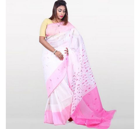Half Silk & Cotton Jamdani Saree White & Pink 1042