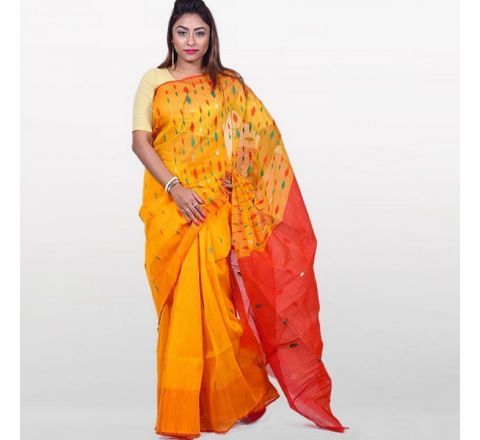 Half Silk & Cotton Jamdani Saree Orange & Red 1043