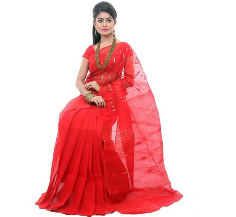 Half Silk & Cotton Jamdani Saree Red 1044