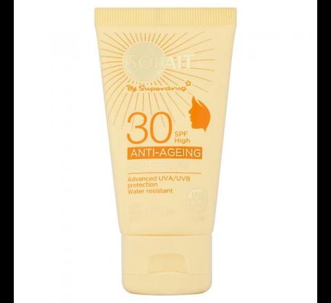 Superdrug Solait Face Sun Cream Fluid SPF30 - Anti-Ageing 50ml