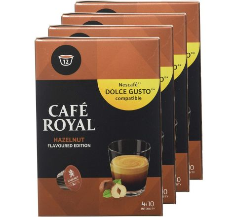 Cafe Royal Flavoured Edition Hazelnut 48 Coffee Pods Compatible with The Nescafé (R)* Dolce Gusto (R)* Systems Pack of 4