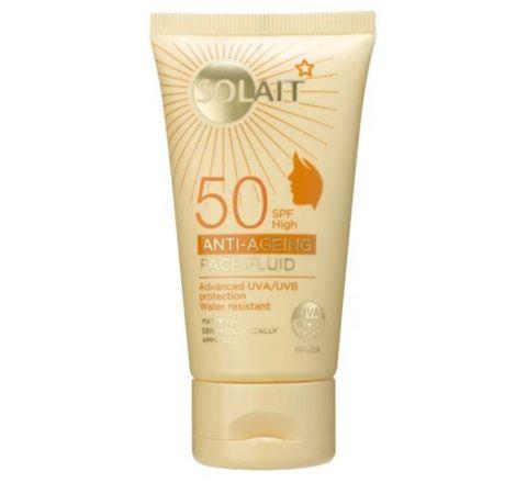 Superdrug Solait Face Sun Cream Fluid SPF50 - Anti-Ageing 50ml