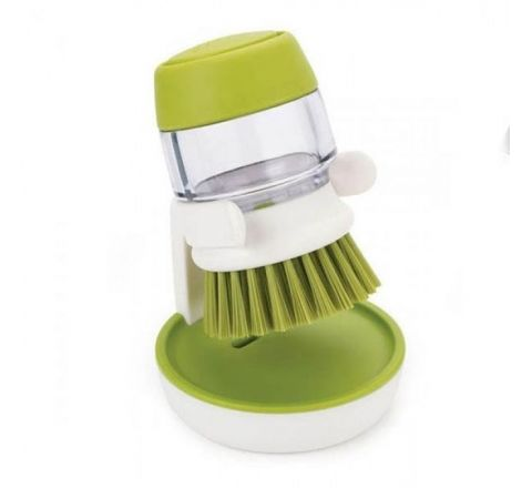 Dishwasher Soap Dispensing Palm Brush With Storage Stand