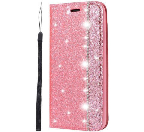 iPhone 12 Pro Max Pink Glitter for Girls Bling Sparkle Shockproof Leather Case
