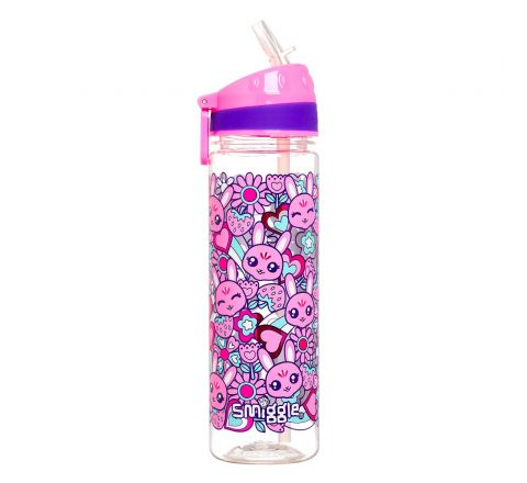 Smiggle Smiggler Kids Water Drink Bottle for Boys & Girls with Flip Top Spout and 650ml Capacity   Pink