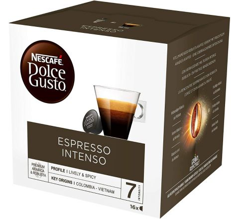NESCAFÉ DOLCE GUSTO Espresso Intenso Coffee Pods, 16 capsules (Pack of 3 - Total 48 Capsules)