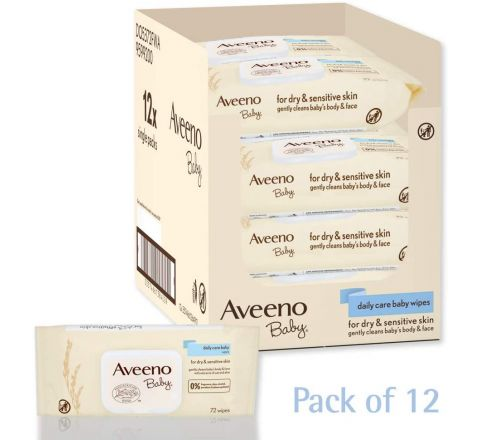AVEENO Baby Daily Care Wipes - Cleanse Gently and Efficiently - Baby Wipes - Baby Essentials - Pack of 12