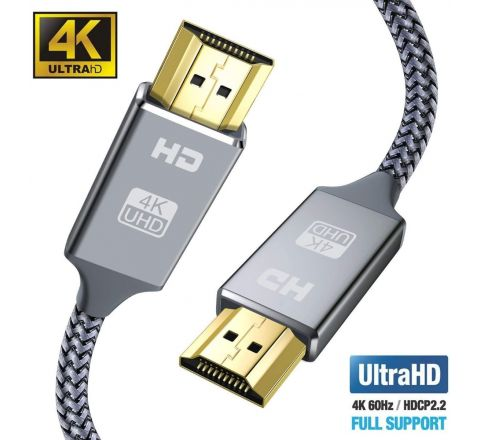 4K HDMI Cable 2M HDMI Lead-Snowkids Ultra High Speed 18Gbps HDMI 2.0 Cable