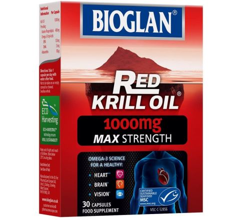 Bioglan Red Krill Oil Max Strength 1000mg, high in Omega-3 Fish Oil, EPA & DHA help to support your Heart, Eye and Brain health, one month supply – 30 capsules