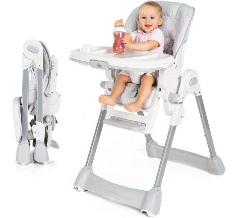 Fillikid Baby Highchair - Convertible Feeding Chair with Removable Double Tray and 5 Point Safety Harness/Reclinable Backrest and Foldable - Grey