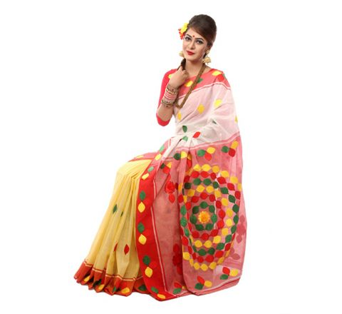 Pure Cotton with Cut-work Applique Embroidery Saree 900