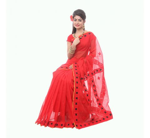 Pure Muslim Silk with Cut-work Applique Embroidery Saree 917