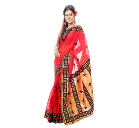 Pure Cotton with Cut-work Applique Embroidery Saree 930