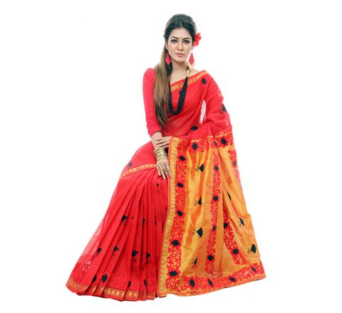 Pure Cotton with Cut-work Applique Embroidery Saree 931