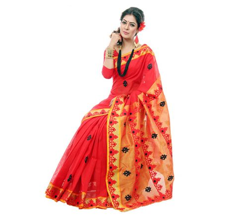 Pure Cotton with Cut-work Applique Embroidery Saree 932