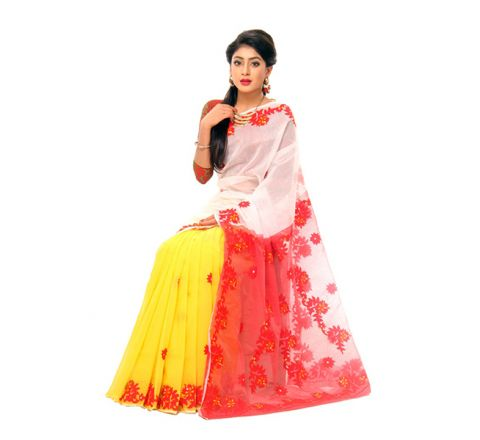 Pure Muslim Silk with Cut-work Applique Embroidery Saree 954