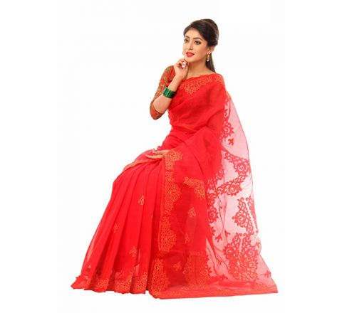 Pure Muslim Silk with Cut-work Applique Embroidery Saree 956