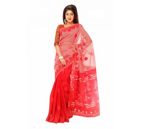 Pure Muslim Silk with Cut-work Applique Embroidery Saree 957