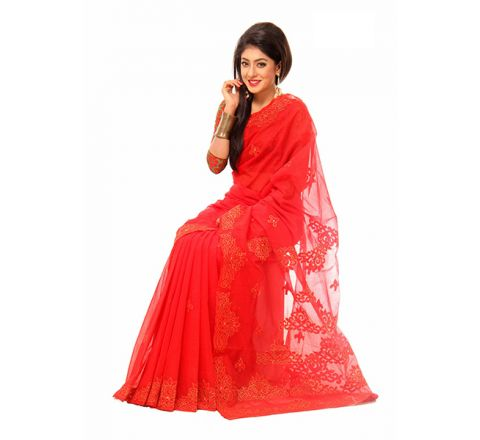 Pure Muslim Silk with Cut-work Applique Embroidery Saree 958