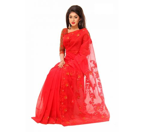 Pure Muslim Silk with Cut-work Applique Embroidery Saree 959