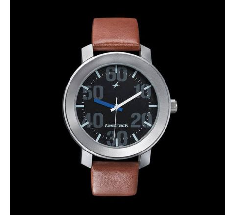 Fastrack Leather Strap Analog Watch for Men - Brown