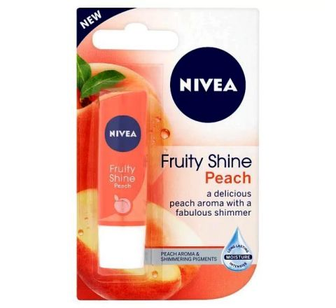 NIVEA Lip Balm, Peach Fruity Shine 4.8g