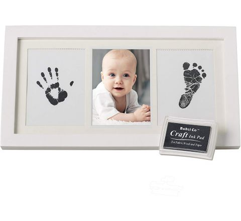 Beautiful Baby Handprint Kit & Footprint Photo Frame for Newborn Girls and Boys