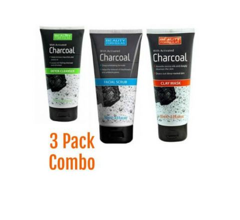 Beauty Formulas Charcoal Detox Cleanser, Facial Scrub and Clay Mask Combo