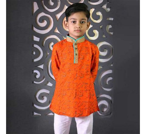 Cotton Regular Fit Long Kid's Panjabi With Payjama 04