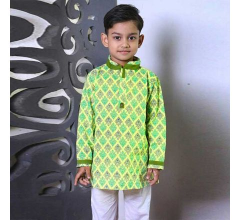 Cotton Regular Fit Long Kid's Panjabi With Payjama 05