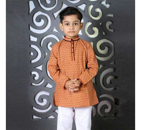 Cotton Regular Fit Long Kid's Panjabi With Payjama 06