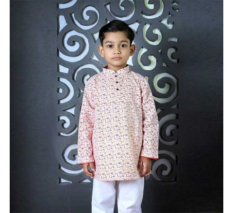 Cotton Regular Fit Long Kid's Panjabi With Payjama 07