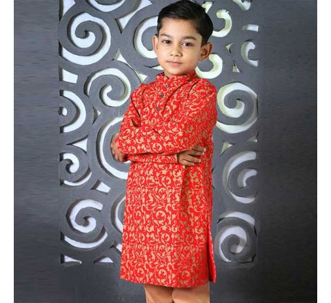 Cotton Regular Fit Long Kid's Panjabi With Payjama 08