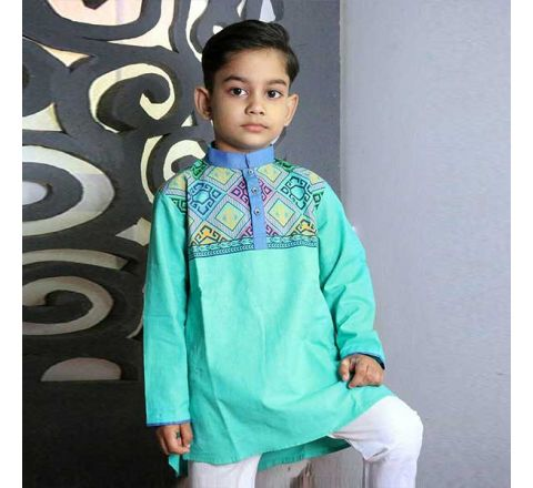 Cotton Regular Fit Long Kid's Panjabi With Payjama 03